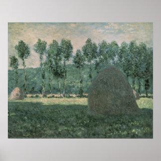 Poster Les meules de foin de Claude Monet | s'approchent