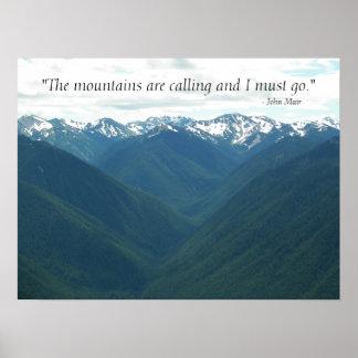 Poster Les montagnes appellent le paysage de citation