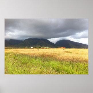 Poster Les montagnes s'approchent de Lahaina, Maui, Hawaï