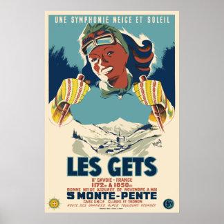 Poster Les obtient, la Savoie, France, affiche de ski