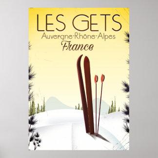 Poster Les obtient l'affiche de voyage de ski de la