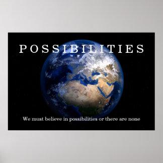 Poster Les possibilités bleues de la terre croient la