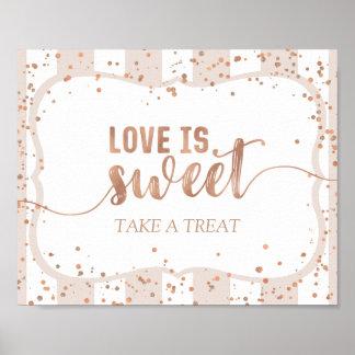 Poster Les rayures de sable et l'amour rose de confettis