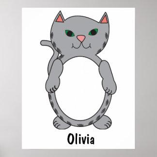 Poster Les rayures tigrées grises de chat de Kitty