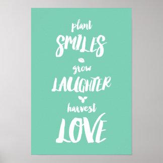 Poster Les sourires de plante élèvent l'affiche de rire