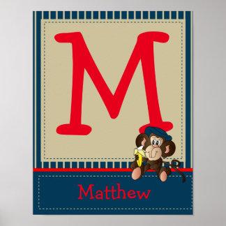 Poster Lettre de monogramme de singe et art de nom
