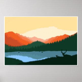 Poster Lever de soleil de montagne rocheuse