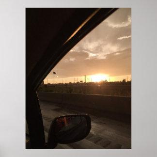 Poster Lever de soleil de route