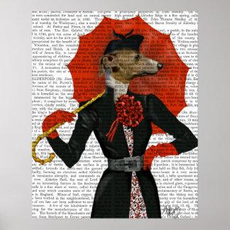 Poster Lévrier élégant et parapluie rouge