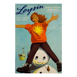 Poster Leysin, Suisse, affiche de ski