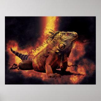 Poster Lézard d'iguane en feux brûlants d'enfer