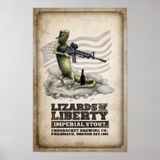 Poster Lézards de bière de malt impériale de liberté