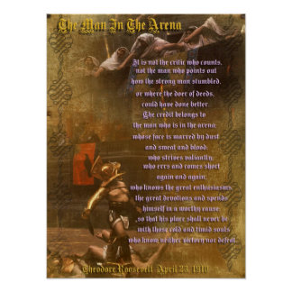 "Poster ""L'homme dans l'arène"" Theodore Roosevelt"