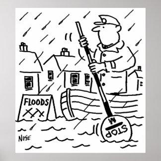 Poster L'homme de lucette rame un bateau dans les