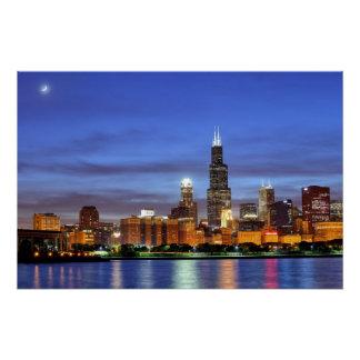 Poster L'horizon de Chicago du planétarium d'Adler