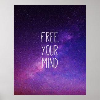 """Poster """"Libre ciel nocturne de bleu de citation de votre"""