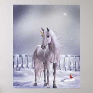 Poster Licorne dans la copie d'affiche de neige