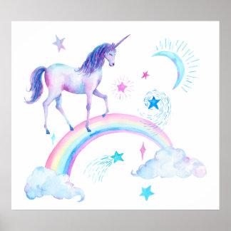 Poster Licorne et arc-en-ciel d'aquarelle