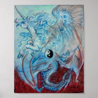 Poster Licorne et dragon Yin Yang