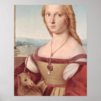 Poster Licorne et Madame Raphael Painting de Rennaisance