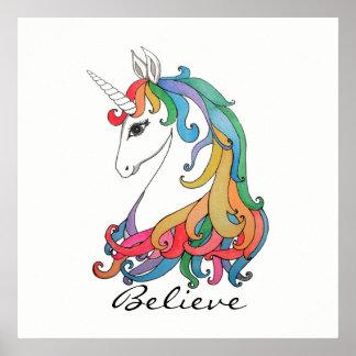 Poster Licorne mignonne d'arc-en-ciel d'aquarelle