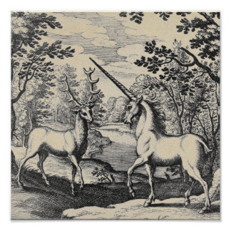 Poster Licorne mythique dans la forêt