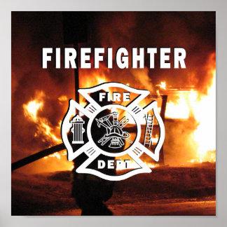 Poster Ligne à main de sapeur-pompier