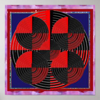 Poster Ligne argentée noire rouge géante mandala vivant