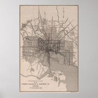 Poster Ligne de transit vintage de Baltimore Map (1900)