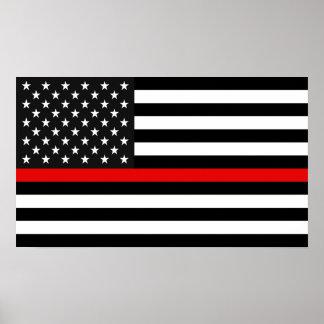 Poster Ligne rouge mince drapeau américain
