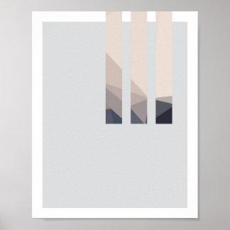 Poster Lignes abstraites affiche 2 de rose et de gris