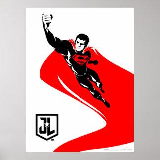Poster Ligue de justice | Superman pilotant l'art de
