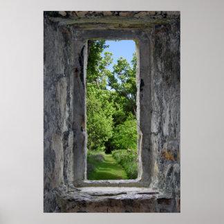 Poster L'illusion de fenêtre de château crée l'effet de