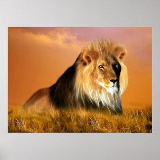 Poster Lion d'art de fractale de l'Afrique du Sud