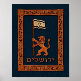 Poster Lion de jour de Jérusalem avec le drapeau