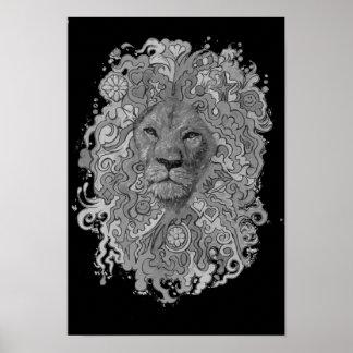 Poster Lion féroce