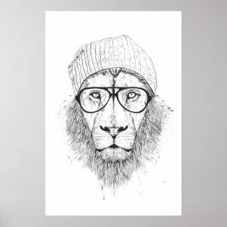 Poster Lion frais (noir et blanc)