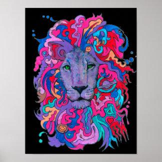 Poster Lion pourpre psychédélique