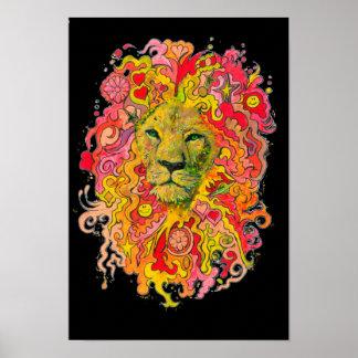 Poster Lion psychédélique