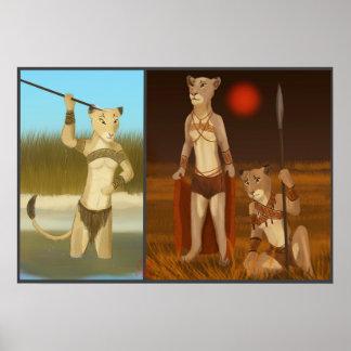 """Poster Lionnes sur la chasse 20"""" x 16"""", affiche"""