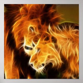 Poster Lions dans l'amour