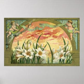Poster Lis de Pâques vintages de lever de soleil et anges