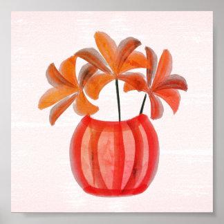 Poster Lis lumineux d'aquarelle dans le vase rose