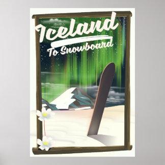 Poster L'Islande à faire du surf des neiges