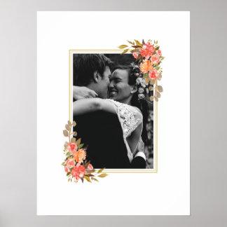 Poster Livre d'invité floral de mariage de photo