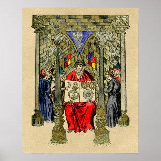 Poster Livre médiéval de l'alchimie