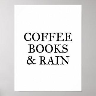 Poster Livres et pluie de café - sur le blanc