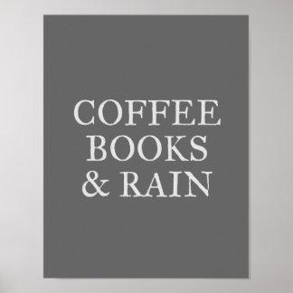 Poster Livres et pluie de café - sur le charbon de bois