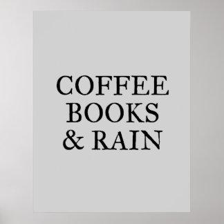 Poster Livres et pluie de café - sur le gris
