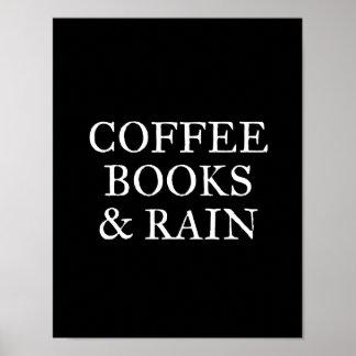 Poster Livres et pluie de café - sur le noir